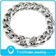 TKB-B0150 2015 newest exquisite high quality snake chain silver 316L stainless steel bracelet for mens